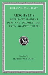 AESCHYLUS was a Greek tragedian who flourished in Athens in the early C5th BC. Of the 76 plays he is known to have written only seven survive: 1. the Persians; 2. Seven Against Thebes; 3. Suppliant Women; 4 - 6. the Oresteia trilogy (Agamemnon, Libation Bearers or Choephori and The Eumenides); 7. Prometheus Bound.    Aeschylus. Translated by Smyth, Herbert Weir. Loeb Classical Library Volumes 145 & 146. Cambridge, MA. Harvard Universrity Press. 1926