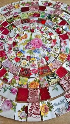 hand cut mosaic tile pieces of vintage pottery Mosaic Tile Art, Mosaic Artwork, Mosaic Crafts, Mosaic Projects, Mosaic Glass, Glass Art, Stained Glass, Mosaic Mirrors, Sea Glass