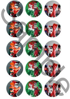 Harley Quinn and Poison Ivy Bottle Cap Images by metalheadmom, $1.25 USD