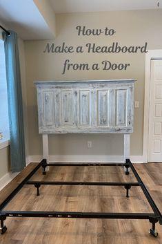 Door For Headboard, Headboards For Beds Diy, Diy Rustic Headboard, Diy King Size Headboard, Door Headboards, Old Headboard, How To Make Headboard, Headboard Ideas, Home Bedroom