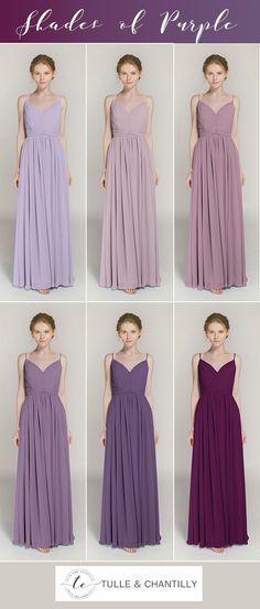 shades of purple spaghetti straps bridesmaid dresses