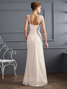 Sheath Straps Floor-Length Chiffon Evening Dress With Applique - MissyDress