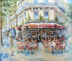 """Oil art """"cafe""""Les Champ de Mars"""""""