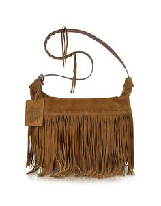 Ralph Lauren Collection Large Brown Suede Crossbody Bag | FORZIERI