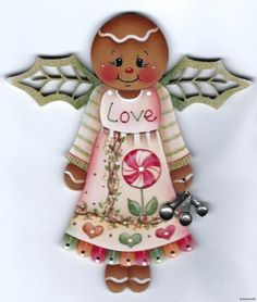 """GINGERBREAD """"Love"""" Angel with Spoons Charm - Based on a Jamie Mills-Price design... handpainted by Pamela House Gingerbread Crafts, Gingerbread Decorations, Christmas Gingerbread, Christmas Paintings, Christmas Art, Christmas Ornaments, Pintura Country, Christmas Cake Topper, Tole Painting Patterns"""