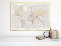 Custom quote printable world map with cities in rustic style. Color combination: Lucille. Printable world map poster, in this rustic and vintage-inspired color combination, featuring your favorite quote, and sent to you as printable jpg and pdf files.