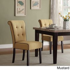 Office Star Products Savanna Tufted and Rolled Back Armless Chair with Contrast Piping and Solid Espresso Legs