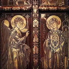Incarnatio Verbi.  Portes royales d'iconostase. Abbaye de Chevetogne Belgique.