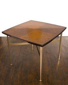 Paul László; Burl Wood, Mahogany and Brass Games Table, c1955.