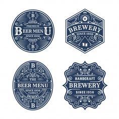 Set of vintage brewery badge design Premium Vector Vintage Logo, Memphis Pattern, How To Age Paper, Free Vector Illustration, Retro Background, Memphis Design, Badge Design, Wedding Card Design, Travel Design