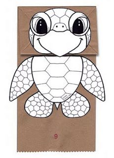 Origami n' Stuff 4 Kids: Crafts: Paper Bag Puppets, Owl and Turtle- science craft idea Ocean Crafts, Fish Crafts, Sea Turtle Crafts, Daycare Crafts, Preschool Crafts, Preschool Christmas, Christmas Crafts, Art For Kids, Crafts For Kids