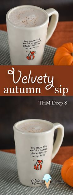 This Velvety Autumn Sip combines some unique elements for a flavorful hot drink. THM: Deep S, low carb, sugar free, gluten/egg free with nut free suggestion Sin Gluten, Gluten Free, Dairy Free, Yummy Drinks, Healthy Drinks, Healthy Food, Deeps, Trim Healthy Mama Plan, Healthy Carbs