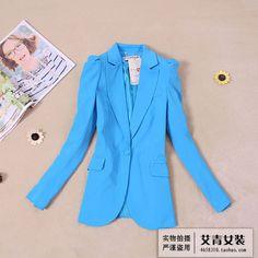 2013夏装新款女装外套 韩版气质修身 清新糖果色长袖小西装西服-淘宝网