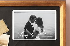 """""""All in the Name"""" - Full-Bleed Photo, Modern Save The Date Magnets in Pearl by Kaydi Bishop."""