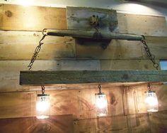 Reclaimed Barn Beam and Antique Horse Yoke Chandelier,Mason Jar Light Fixtures