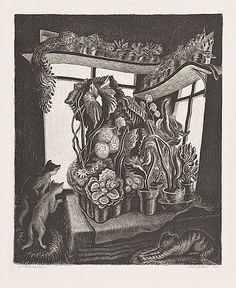 "Gag, Wanda Active in Minnesota--well known also for her illustration of children's books ""Winter Garden"" Lithograph, 1935 Art Students League, Mama Cat, National Gallery Of Art, Winter Garden, American Artists, Cat Art, Illustrators, Book Art, Fine Art"