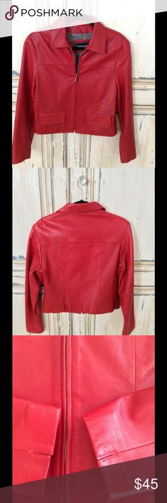 RED VERY SOFT LEATHER JACKET SAGURO WEST LABEL Bright red leather jacket, size medium, zip front, the sleeves edges show a tiny bit of wear, another wear spot but very small. Great looking jacket, fully lined. EXCEPTIONALLY SOFT Saguro West Jackets & Coats