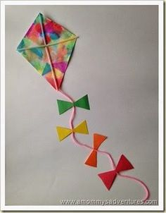 A Mommy's Adventures: Kite Craft You are in the right place about Spring Crafts For Kids paper plate Here we offer you the most beautiful. Spring Crafts For Kids, Summer Crafts, Projects For Kids, Art Projects, Kites For Kids, Art For Kids, Kid Art, Kites Craft, Kites Diy