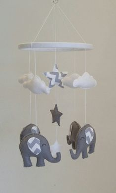 Grey Elephants Baby Mobile With Chevron Ears Uni Nursery Monochrome