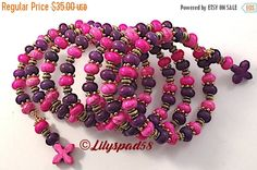CIJ Purple and Hot Pink Beaded Bracelet, Gift for Her, Southwest, Ethnic, Tribal, Cowgirl, Native American, Natural Stone, Bohemian