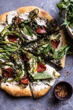 Broccoli Rabe Burrata Pizza | halfbakedharvest.com @hbharvest - sub veggie pepperoni (Tofurky brand is decent), or just omit, for a veg version...