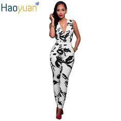 c75cd14d134 2017 Summer Rompers Women Jumpsuit Combinaison Femme Printed Bodysuit Sexy  Slim Bandage White Sleeveless Bodycon Casual Overalls-in Jumpsuits from  Women s ...
