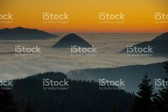 Peaks Above the Fog at Sunset royalty-free stock photo