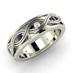 Round Sapphire Ring in 14k White Gold with I Diamond