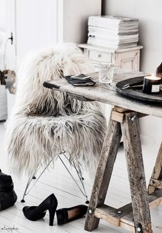 I think this could scare me if I came in late at night: Black Sheep (white light) icelandic sheepskin