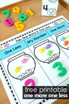 Number sense is a key skill to develop in the early years. Here in this One More One Less Number Sense Fish Math activity kids use a simple hands-on printable and fish theme manipulatives to practice counting and identifying one more and one less. Just right for preschool and kindergarten! #preschool #kindergarten #freeprintable