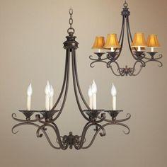 Bronze and Copper Six Light Chandelier | LampsPlus.com    Possible dining room light