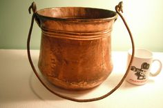 """Antique Large Copper Hand Hammered Dovetail Apple Butter Kettle Pot 9"""" Dia 
