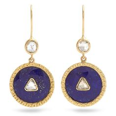 Jade Jagger Diamond, lapis & yellow-gold earrings ($4,176) ❤ liked on Polyvore featuring jewelry, earrings, blue, triangle diamond earrings, blue diamond jewelry, triangle earrings, yellow gold dangle earrings and gold round earrings