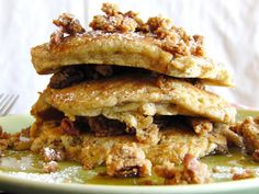 the most sinfully delectable Butter Pecan Crumble Pancakes with homemade Cinnamon Maple Butter