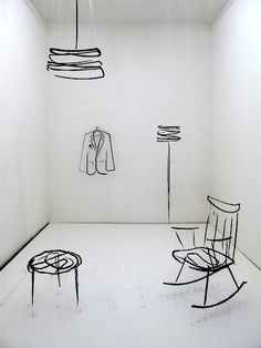 """In Ventura Lambrate at the Enrico Fornello Gallery, the Analogia Project by Andrea Mancuso and Emilia Serra consisted of a cozy interior """"sketched"""" in three dimensions using wires and wool. Interior Sketch, Interior Design Tips, Interior Inspiration, Royal College Of Art, Design Your Home, Stage Design, Interior Design Living Room, Interior Livingroom, Cafe Interior"""