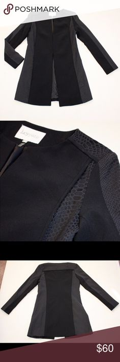 Lucy Paris black & snakeskin print coat Classic, ultra sleek black coat by Lucy Paris, purchased from The Oxford Trunk. All black with snakeskin print details. Perfect for fall with a dress, tights, and booties. Only worn once! Like new condition. Lucy Paris Jackets & Coats
