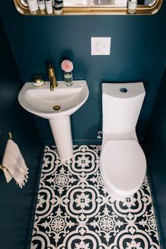 Bathroom Remodel Jess Ann Kirby renovated her half bathroom with new Farrow and Ball paint and th. Jess Ann Kirby renovated her half bathroom with new Farrow and Ball paint and the Kohler Parigi pedestal sink Bathroom Tile Designs, Bathroom Design Small, Modern Bathroom, Bathroom Ideas, Bling Bathroom, Bathroom Things, Bathroom Hacks, Boho Bathroom, Industrial Bathroom