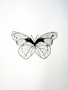 Original - Watercolor - Butterfly - Black - White - Gray - Geometric. $50.00, via Etsy.