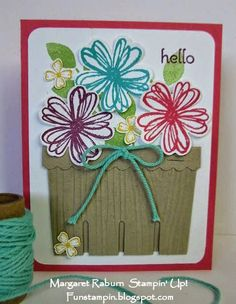 Fun Stampin' with Margaret!  Berry Basket Die, Flower Shop flowers, Pansy Punch, Woodgrain Embossing Folder.