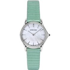 Emporio Armani Swiss Made Watches ($1,430) ❤ liked on Polyvore featuring jewelry, watches, accessories, bracelets, green, light green, cabochon bracelet, green bracelet, bracelet jewelry and logo watches