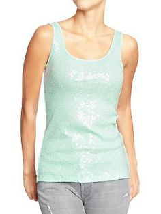 Womens Sequined Tanks