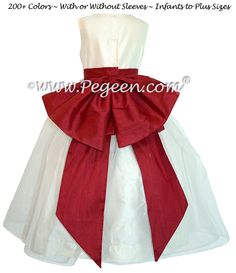 c95aa3762eb Flower Girl Dresses in New Ivory and Cranberry with Cinderella bow by  Pegeen Ivory Flower Girl