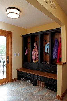 Mud Room: Black and dark stained wood!