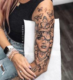 Dope Tattoos For Women, Leg Tattoos Women, Girl Arm Tattoos, Tattoos For Women Half Sleeve, Shoulder Tattoos For Women, Best Sleeve Tattoos, Female Tattoo Sleeve, Tattoo Sleeves Women, Female Hand Tattoos