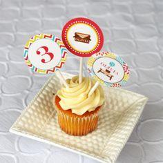 Preppy Pink & Yellow Picnic Cupcake Toppers  #whhostess