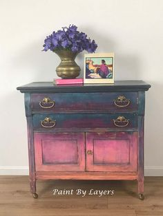 Hand Painted Vintage Furniture by PaintbylayersDesign on Etsy Funky Painted Furniture, Chalk Paint Furniture, Refurbished Furniture, Furniture Makeover, Vintage Furniture, Colorful Furniture, Hand Painted Dressers, Furniture Painting Techniques, Green Furniture