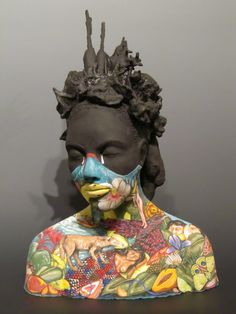 Clay sculpture with painted finish. Alicia Reyes McNamara