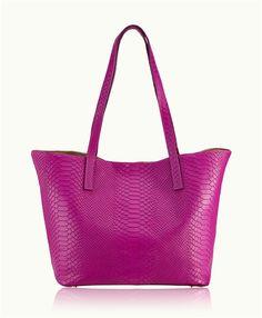 Magenta Teddie Tote | Embossed Python Leather | GiGi New York