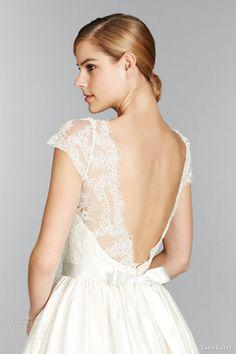 tara keely fall 2013 short cap sleeve ball gown wedding dress style 2357 lace illusion bateau neck v back close up