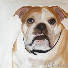 "Bulldog Portrait 20x24"" acrylic on canvas by artist  LouLou  Clayton  www.loulouclayton.com"